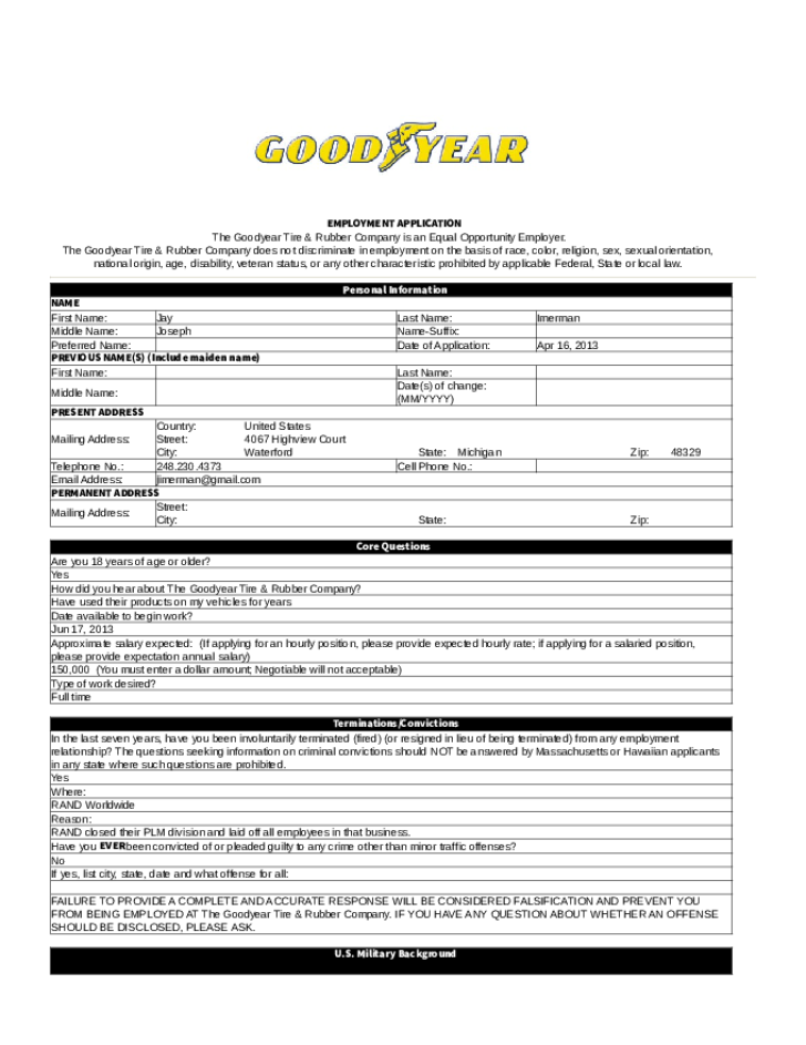 free printable goodyear job application form