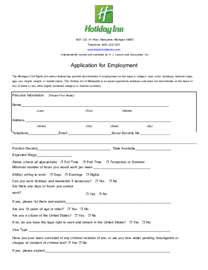Holiday Inn Application Form