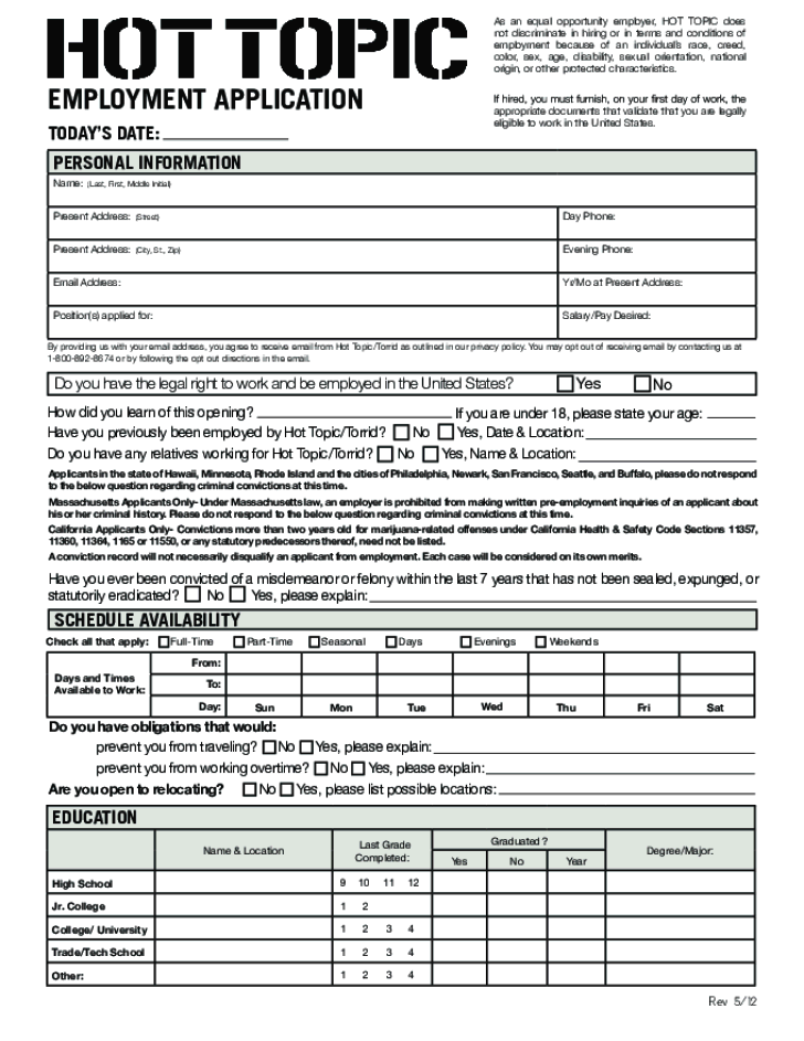 Free Printable Hot Topic Job Application Form