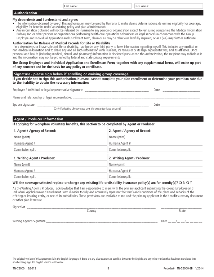Free Printable Humana Job Application Form Page 8