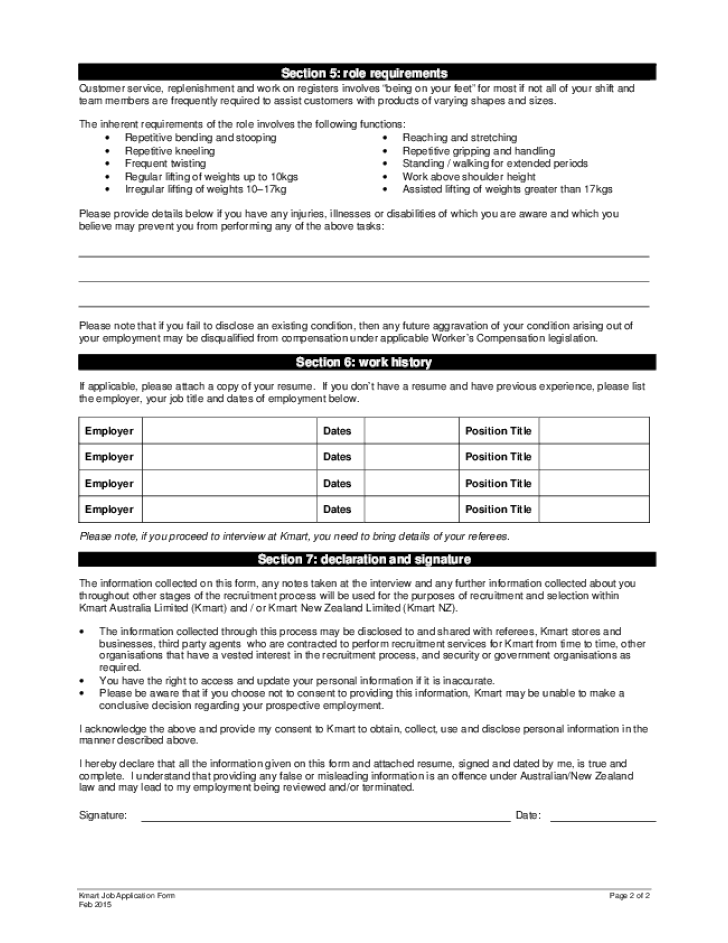 free printable kmart job application form page 2