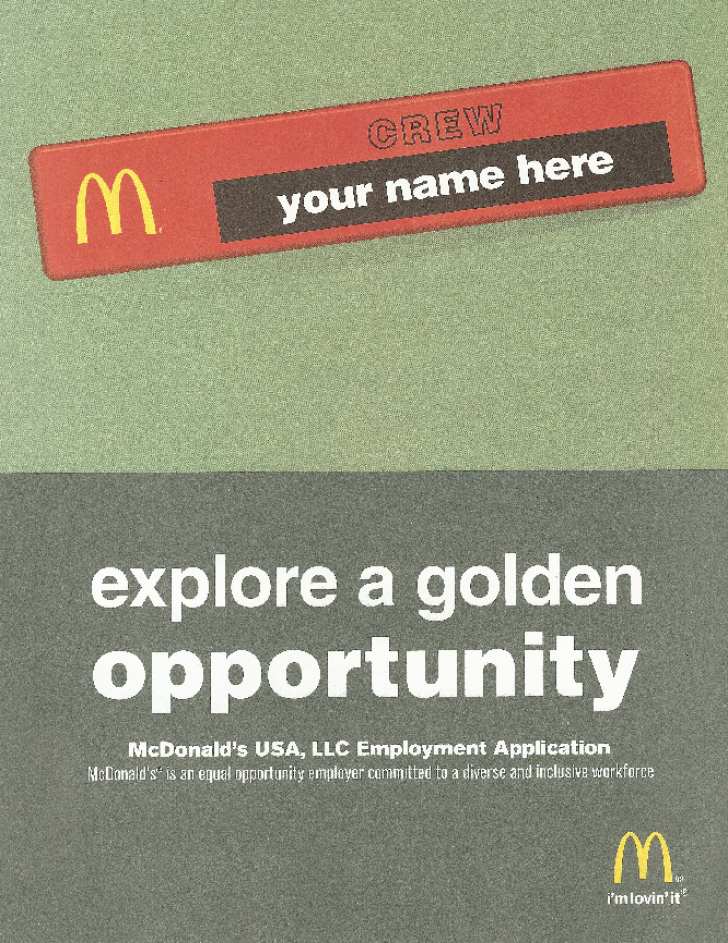 free printable mcdonald s job application form