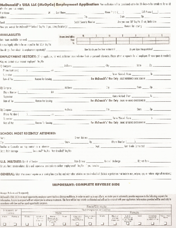 free printable mcdonald u0026 39 s job application form page 3