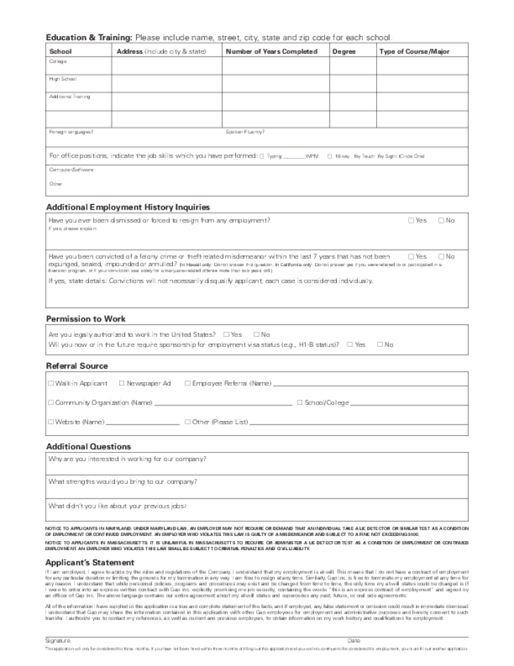 Free Printable Old Navy Job Application Form Page 2