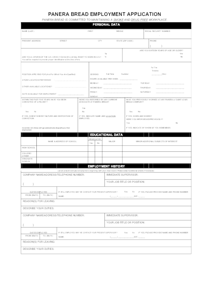 Panera Bread Application Form