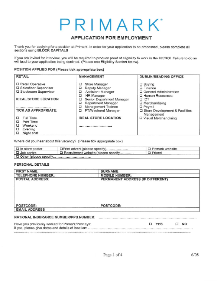 Primark Application Form