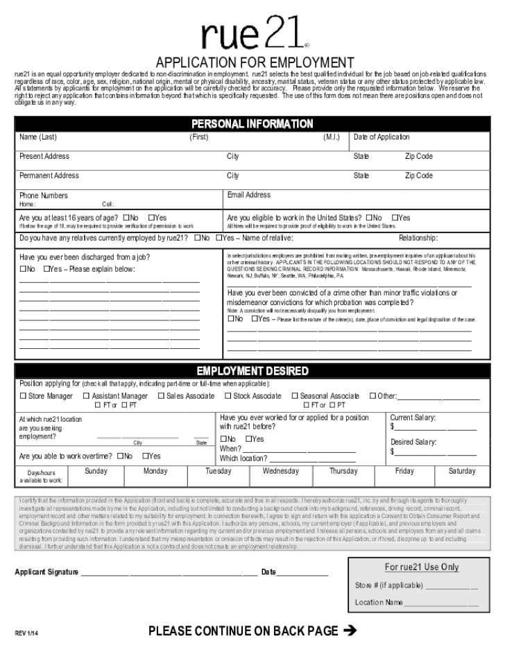 Free printable rue 21 job application form altavistaventures Choice Image