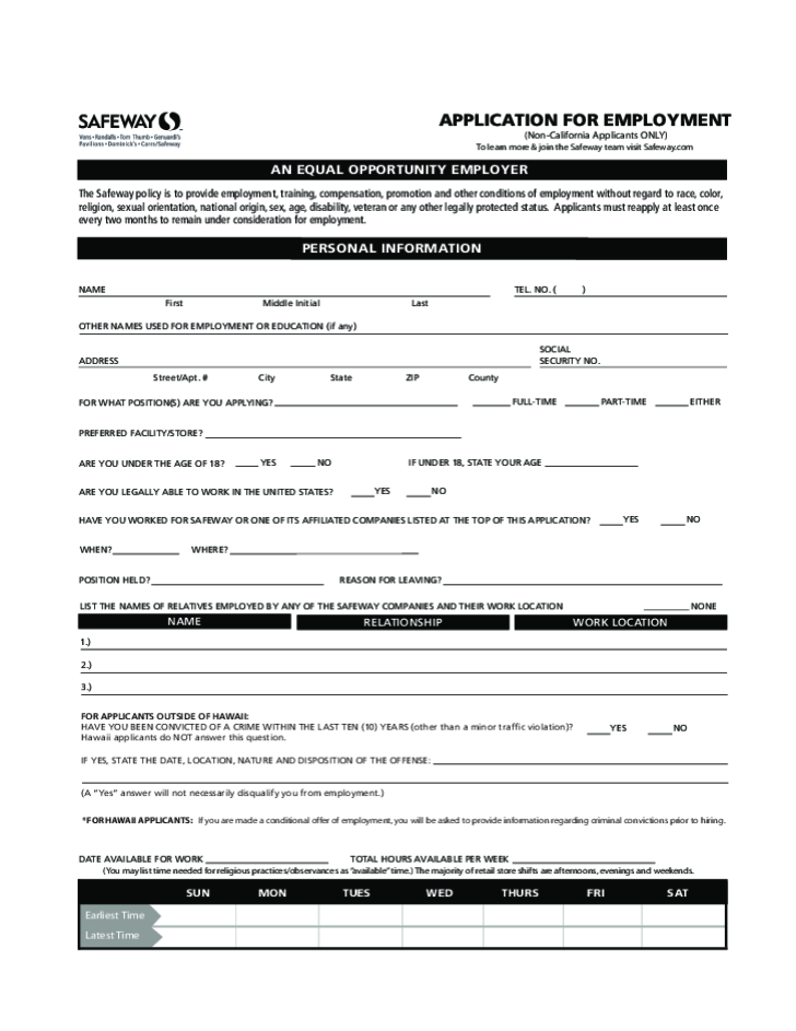 Free Printable Safeway Job Application Form – Application Form