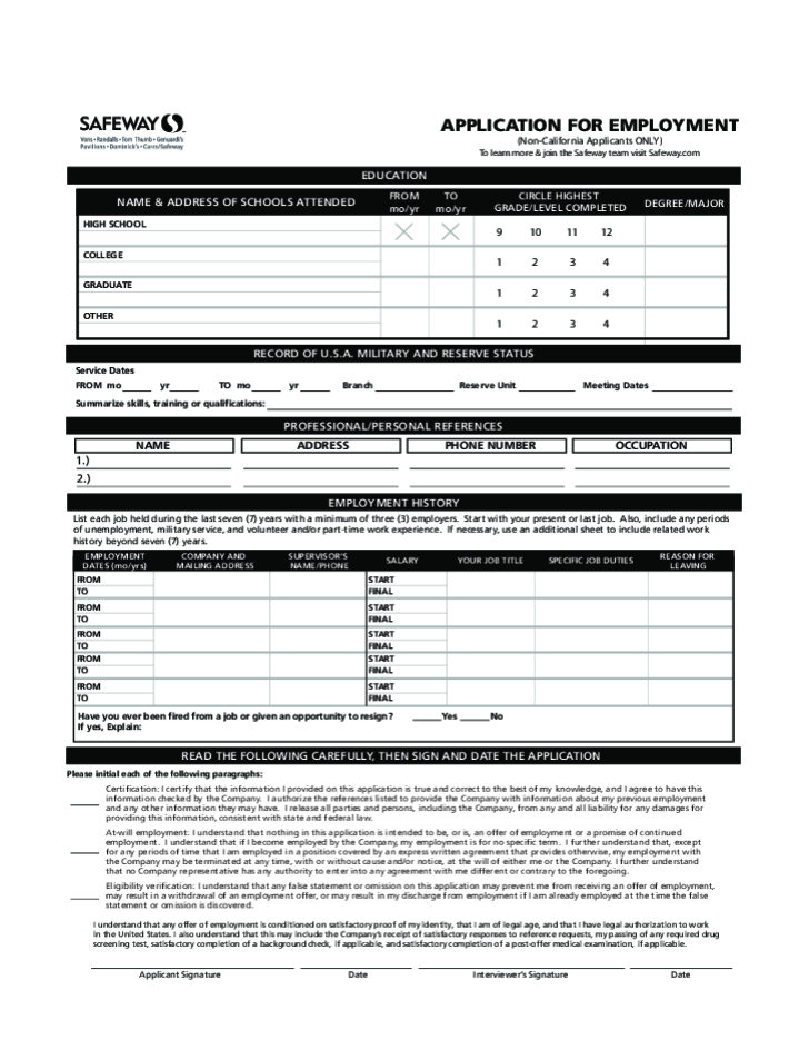 safeway-application-form-l2 Job Application Form Safeway on free generic, part time, blank generic,