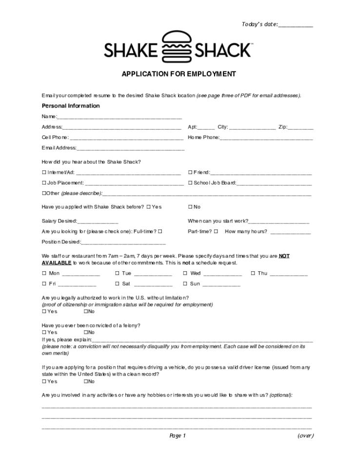 free printable shake shack job application form