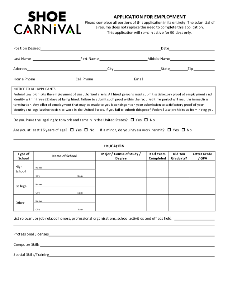 free printable shoe carnival job application form