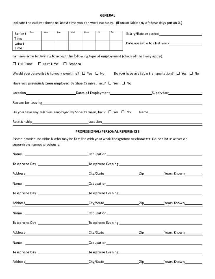 Free printable shoe carnival job application form page 3 - Dollar general careers express hiring ...