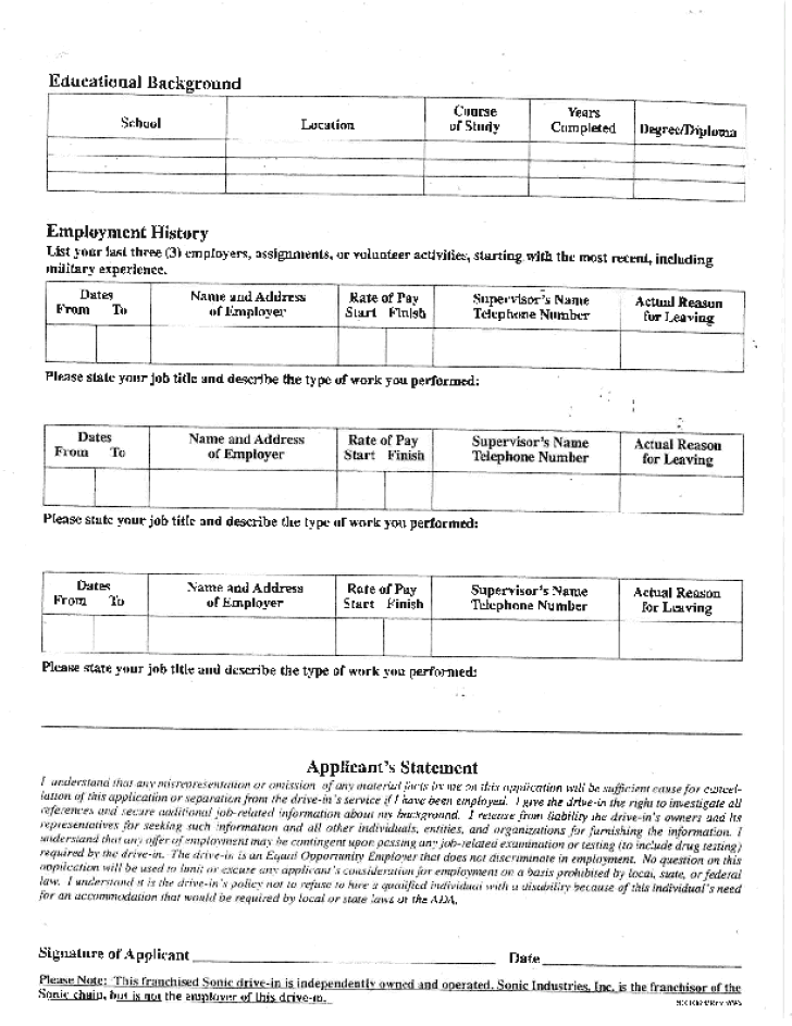 sonic-application-form-l2 Target Job Application Form Print on target job app, target job opportunities, target store employment, standard job application print, target open positions, victoria secret job application print, blank application to print, target stores job application, dollar tree application job print, target paper application,