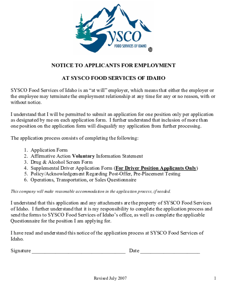 Free Printable Sysco Job Application Form