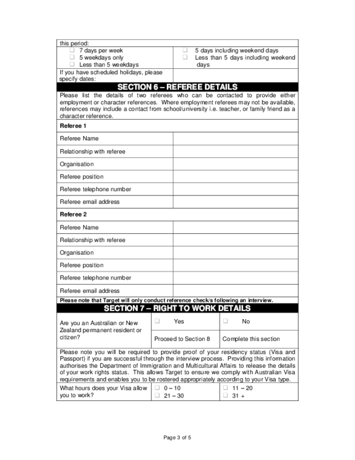 free printable target job application form page 3
