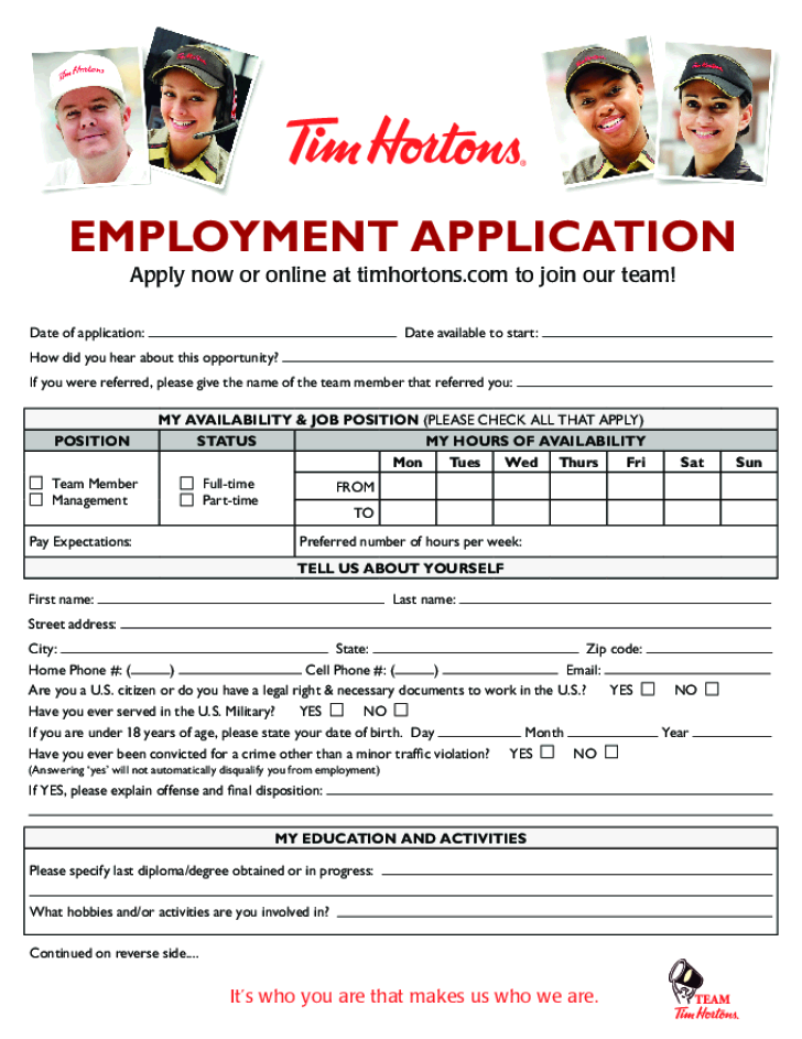 Free Printable Tim Hortons Job Application Form