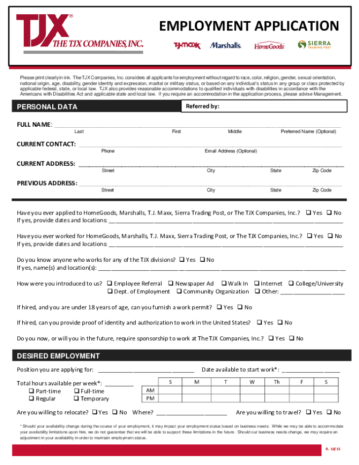 Free Printable Tjxx Job Application Form