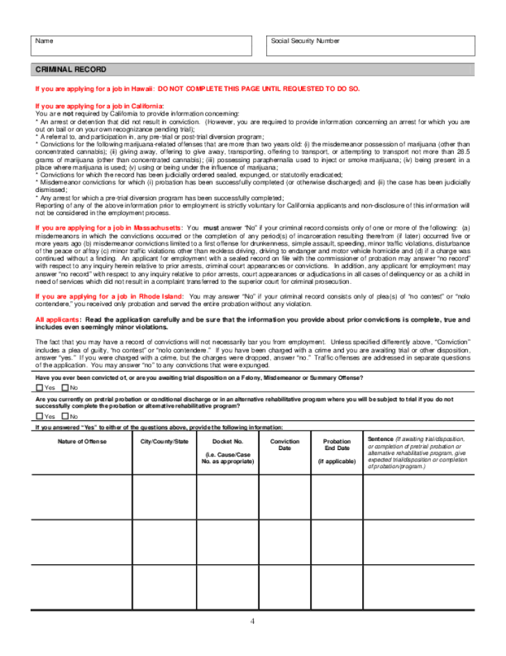 Free Printable Verizon Job Application Form Page 6