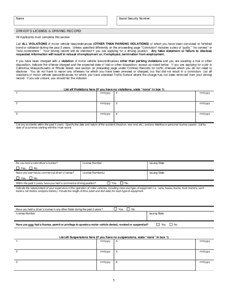 Free Printable Verizon Job Application Form Page 7