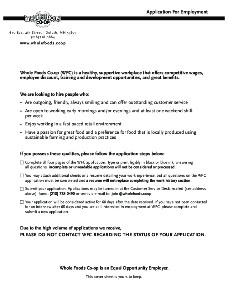 Whole Foods Application Form