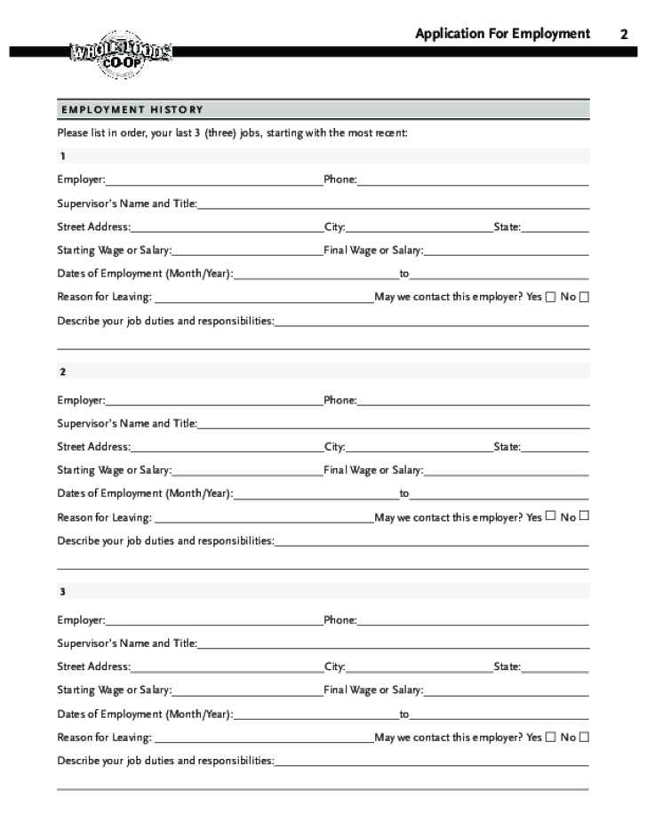free printable whole foods job application form page 4
