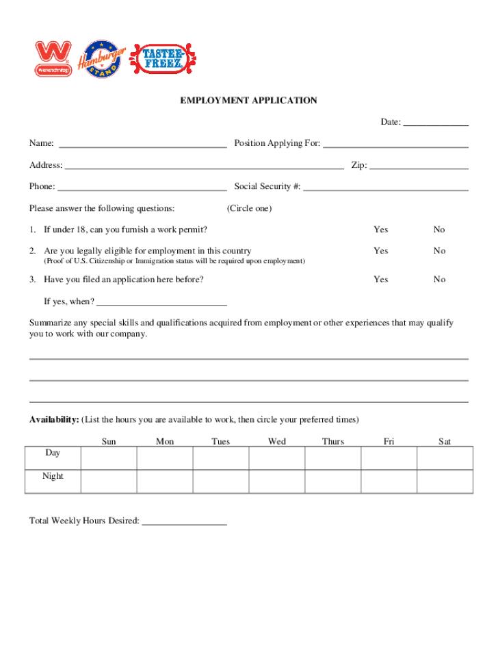 free printable wienerschnitzel job application form