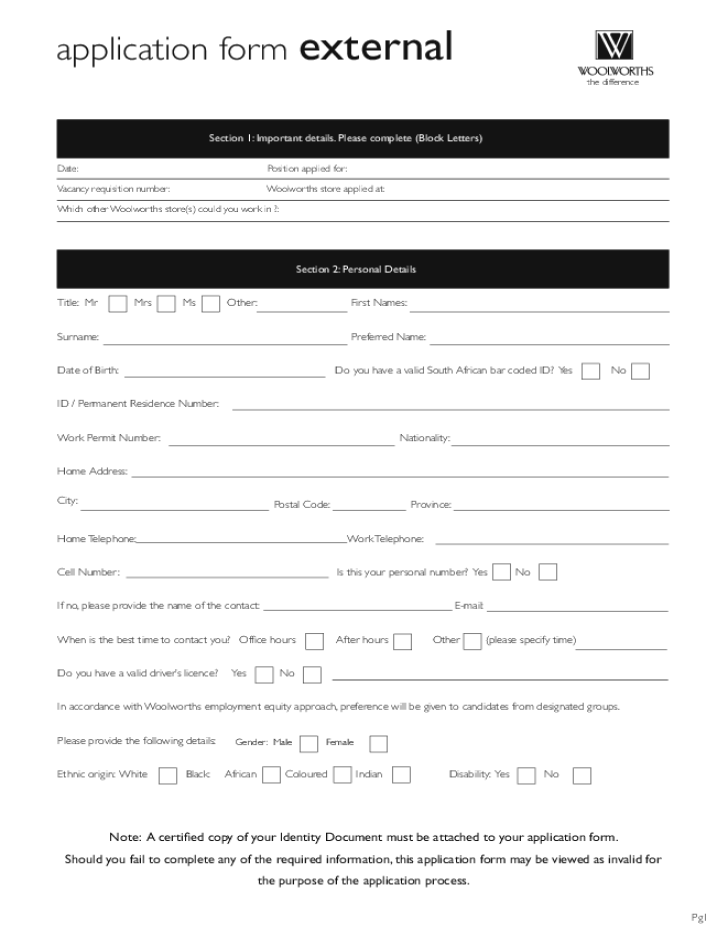 Free Printable Woolworths Application Form
