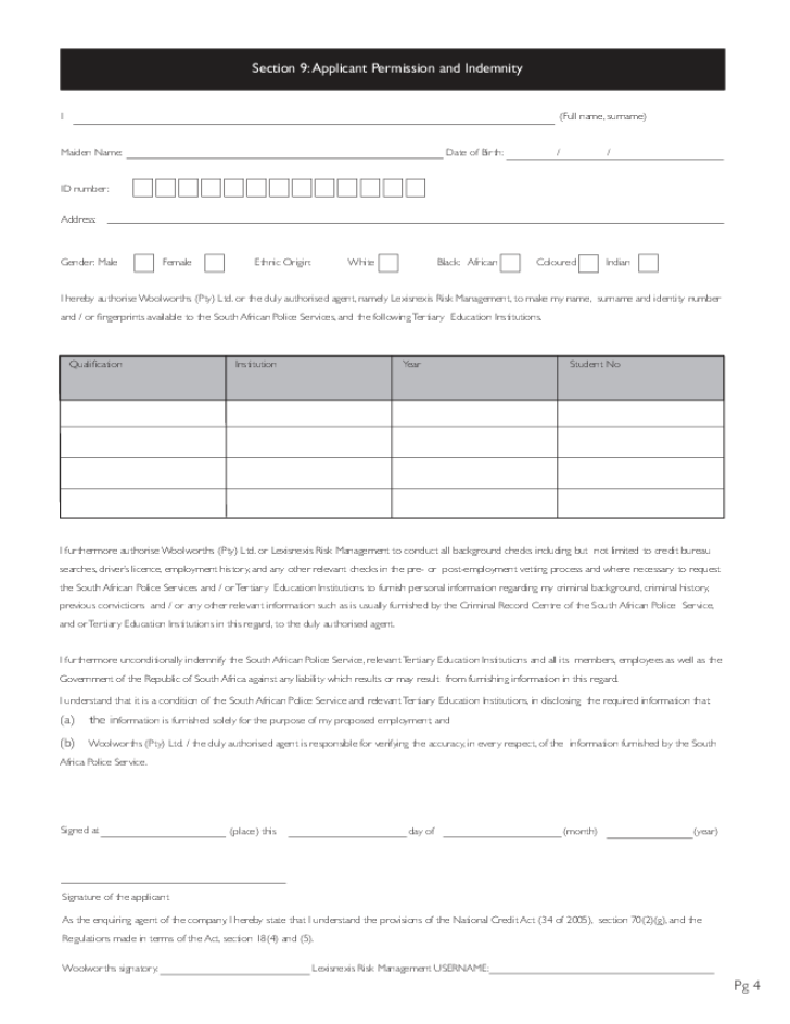 Free Printable Woolworths Job Application Form Page 4