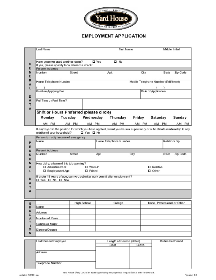 Free Printable Yard House Job Application Form