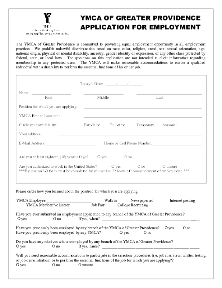 free printable ymca job application form